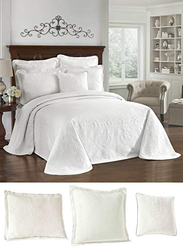 King Charles 13989BEDDKNGWHI Matelasse Bedspread with King Shams, 26x26 Euro Shams, and 20x20 Decorative Pillow (White) ()