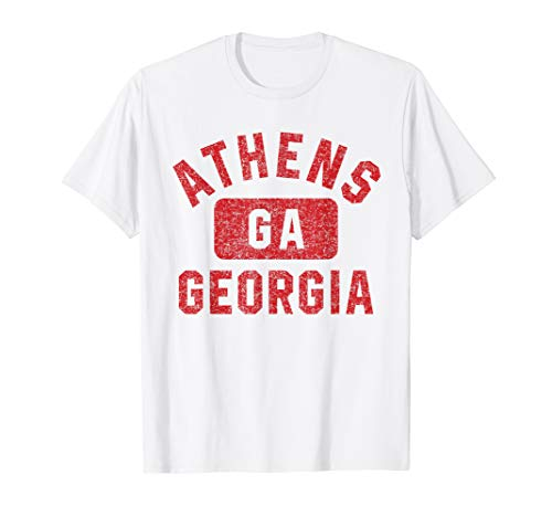 Athens GA Gym Style Distressed Red Print ()