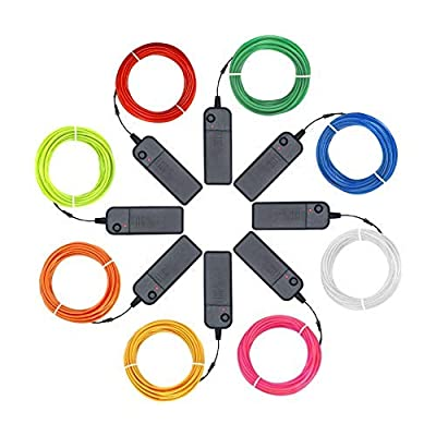 Zitrades EL Wire Kit 9ft, Portable Neon Lights for Parties, Halloween, Blacklight Run, DIY Decoration (8 Pack, Each of 9ft, Red, Green, Pink, Lemon Green, Blue, White, YEL : Garden & Outdoor