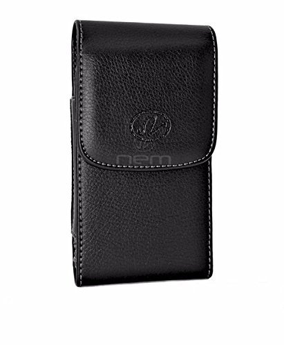 Fitted Horizontal Leather Pouch - Verizon LG Exalt LTE/ Wine LTE Premium Black Vertical Leather Carrying Case Holster with Swivel Belt Clip