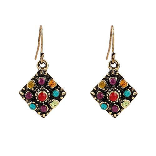 FEDULK Womens Bohemian National Wind Classic Retro Rhinestone Ear Stud Earrings Jewelry Eardrop - Two Butterfly Tone Brooch
