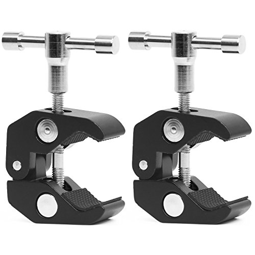 Anwenk 2Pack Super Clamp w/ 1/4-20 and 3/8-16 Thread Camera Clamp Mount Crab Clamp for Cameras, Lights, Umbrellas, Hooks, Shelves, Plate Glass, Cross Bars,Photo Accessories and More