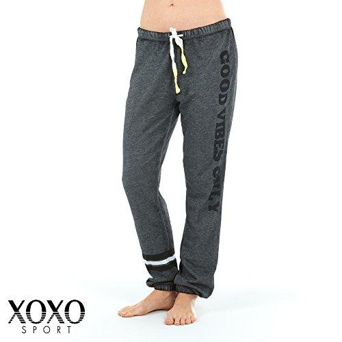 XOXO Womens French Terry Drawstring Waist Long Slouch Sweatpants Black Large