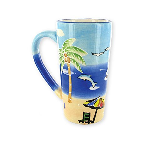 Coffee Mug Beach Palm Tree Embossed Ceramic Tall Coffee Cup 14 Ounce - dolphin beach palm trees friends family holiday