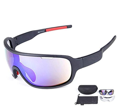Rungear Polarized Sports Cycling Sunglasses Bike Glasses for Men Women Running Driving Fishing Golf Baseball Racing Ski Goggles (Black)