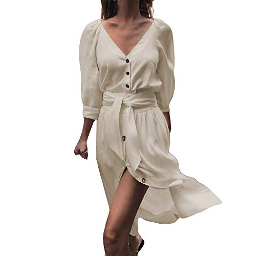 VEZAD Womens Button Pure Color Fashion Ladies Casual Evening Paty Mini Dress