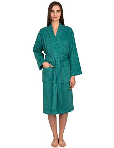 TowelSelections Women's Robe Turkish Cotton Terry Kimono Bathrobe Large/X-Large Green Lake -