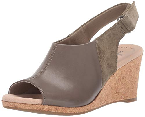 CLARKS Women's Lafley Jess Wedge Sandal Olive Leather/Suede Combi 080 W US