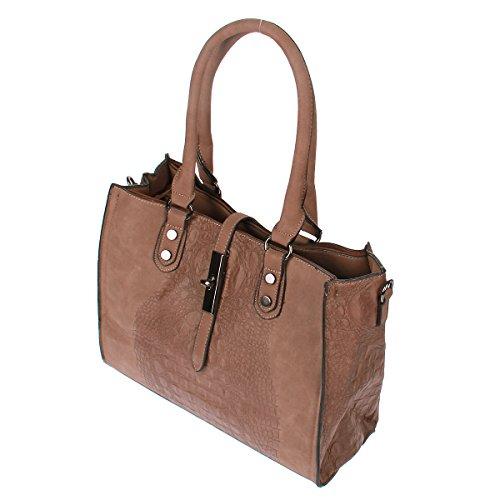 Padlock Xuna 1830-86 Kroko Optik Henkeltasche Tasche Handtasche Shopper (Braun) Braun YWxes