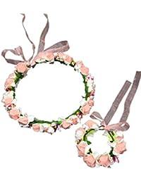 Flower Crown Wrist Set - Floral Garland Headband For Baby Shower Wedding Party Photoshoot