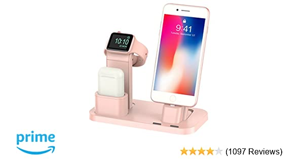 BEACOO Stand for iwatch 5, Charging Stand Dock Station for AirPods Stand Charging Docks Holder, Support for iwatch 5/4/3/2/1 NightStand Mode and for ...
