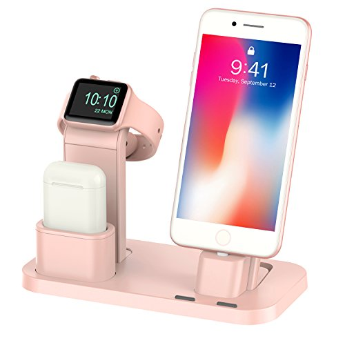 Case Charging Ipad (BEACOO Apple Watch Stand Apple Watch Charging Stand AirPods Stand Charging Docks Holder for Apple Watch Series 3/2/1/AirPods/iPhone X/8/8Plus/7/7 Plus/6S/6S Plus/iPad (Pink Sand))