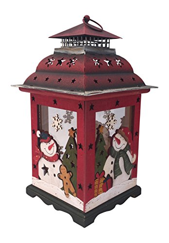 Outdoor Christmas Lantern Decoration - Christmas Snowman Lantern Decoration - Decorative Holiday Table Centerpiece or Hanging Lantern Holder for Pillar Candle or LED Light Indoor Use, by Clovers Garden (13