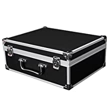 """Enerhu Portable Hard Case Aluminium Alloy Carrying Case Tool Boxes with Handle&Lock 12.20""""by9.84""""by4.92""""Black"""
