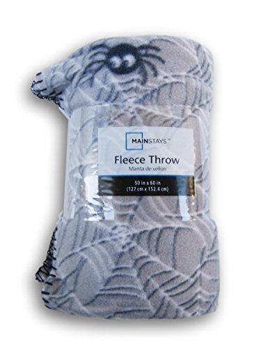 Gray Spiderweb Patterned Fleece Throw Blanket - 50in