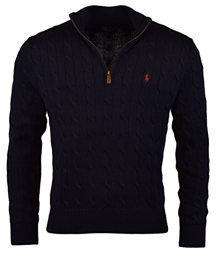 n's Cable-Knit Mock Neck Sweater, M, Hunter Navy ()