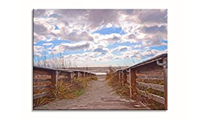 Sweety Decor Beach Fence Seascape Nature Scene Home Decorative Canvas Arts for Living Room (Wood Framed)