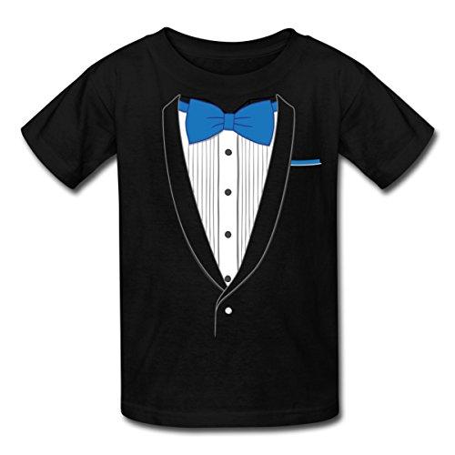 tuxedo-blue-bow-tie-tux-kids-t-shirt-by-spreadshirt-l-black