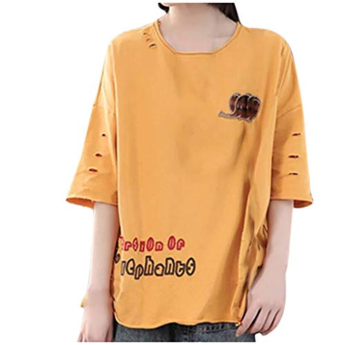 Sunhusing Womens Solid Color Round Neck Short-Sleeve Letter Print Small Elephant Embroidery Loose T-Shirt Yellow