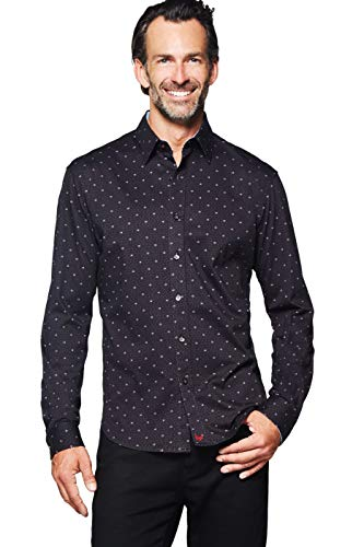 (Buttercloth Galaxy Button Down Honeycomb Print Long Sleeve Dress Shirt in Black as seen on Shark Tank)