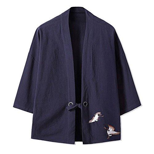 Classic Cardigan Vintage (YOUMU Men Japanese Kimono Cardigan Cranes Embroidery Jacket Vintage Loose Japanese Yukata Coat Top Plus Size)