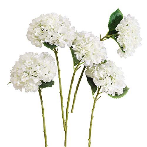 PARTY JOY 5PCS Artificial Hydrangea Silk Flowers Bouquet Faux Hydrangea Stems for Wedding Centerpieces Home Decor (White, 5) (Arrangment Silk Flower)