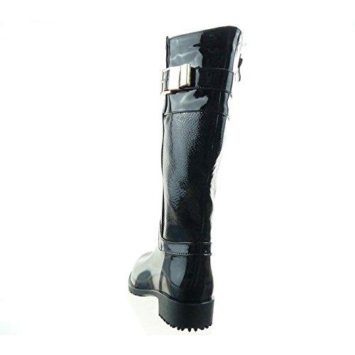 Sopily - Zapatillas de Moda Botas botas de guma de lluvia cavalier Media pierna mujer brillantes piel de serpiente Hebilla Talón Tacón ancho 3.5 CM - plantilla Forrada de Piel - Negro