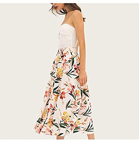QYYDBSQ Mujer Falda Casual Floral Mujer Estilo Largo Falda A-Line ...