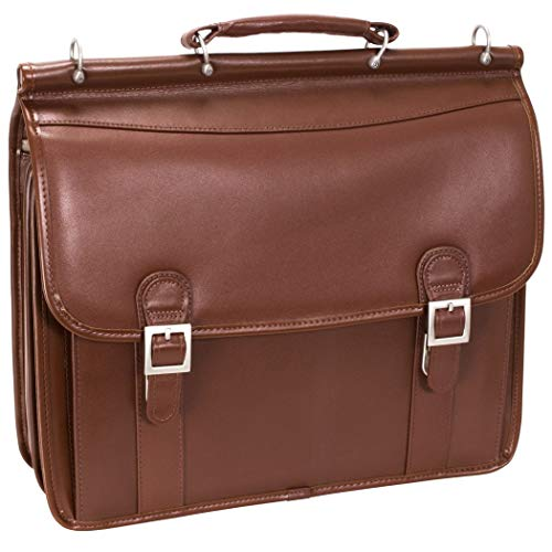 (Brown Litigator Briefcase Leather Solid Business Softsided Sleek Stylish)