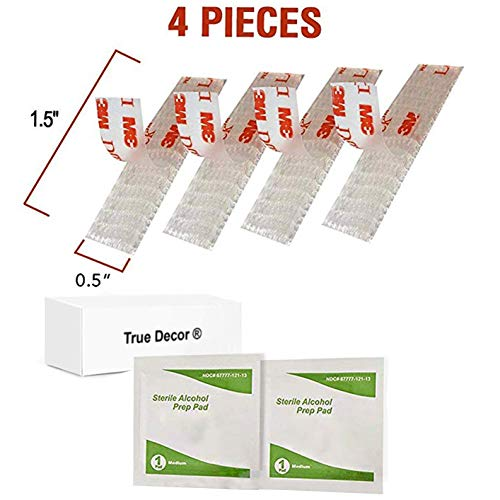 EZ Pass Velcro strips with adhesive - Mounting Tape velcro strips - 2 Sets of EZ Pass/I-Pass/Toll Tag Tape Mounting kit - 4 Peel-and-Stick Adhesive Strips with Alcohol Prep Pad by True Décor (2 Sets)