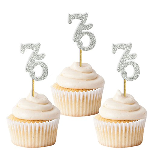 Darling Souvenir, Glitter Custom Day Number Cupcake Toppers, Birthday/ Retirement Party Dessert Decorations - Pack Of 20