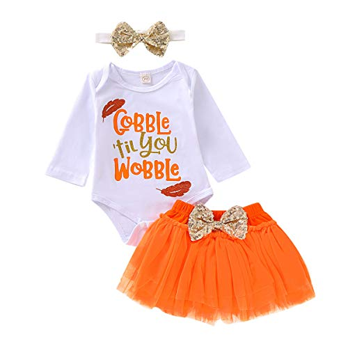 Thanksgiving Outfits Set Baby Girls Gobble