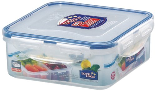 LOCK & LOCK Airtight Square Food Storage Container with Removable Divider 29.41-oz / 3.68-cup Removeable Tray