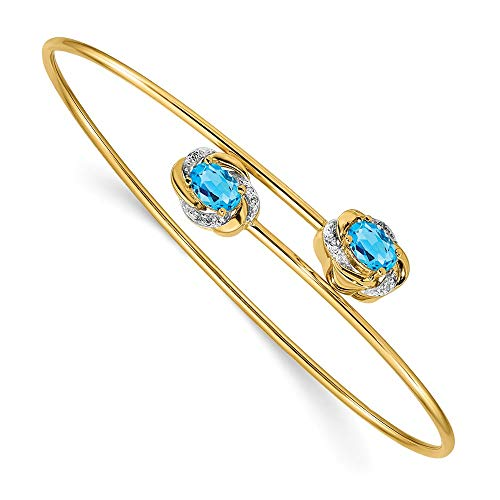 (14K Yellow Gold Polished 0.03ct Diamond & 1.1ct. Blue Topaz Flexible Bangle)