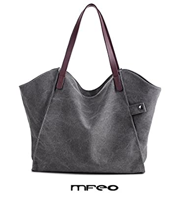 Mfeo Women's Canvas Shoulder Bag Weekend Shopping Big Bag Tote Handbag Work Bag