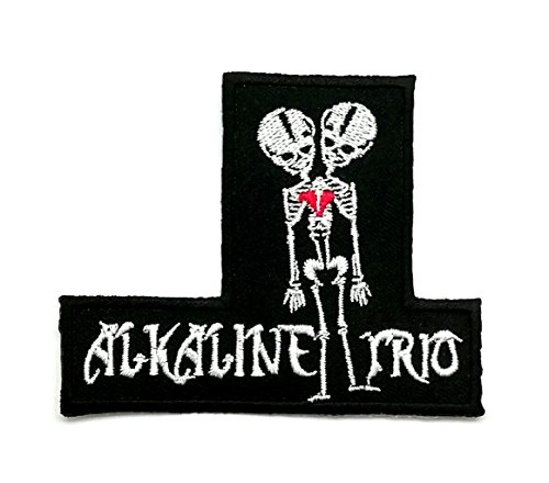 Aruno Maison ALKALINE TRIO Two Headed Skeleton Music patch Band Heavy Metal Punk Rock Black Retro Heavy Metal Songs Steven Tyler Music band T-shirt Jeans Patch Iron on Embroidered Logo Badge Patch (Alkaline Trio Patches)