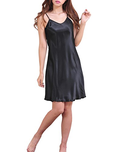 SexyTown Women's Satin Camisole Nightgown Classic Chemise Slip Sleepwear (X-Small, Black)