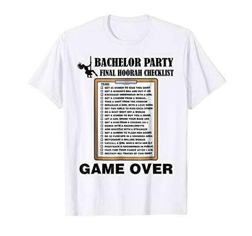 Mens Bachelor Party Checklist Funny Challenge T-Shirt for ()