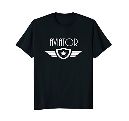 Mens Aviation and Wings Tshirt for Pilots XL - Aviators Famous Black