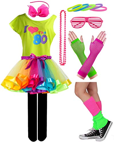 Kid Girl I Love 80s T-Shirt 1980s Star Sequin Tutu Skirt with Neon Necklace Bow Headband Hair Clip Set (7/8, Style ()