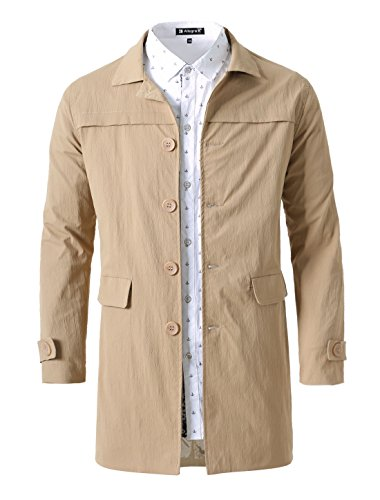 uxcell Men Lightweight Single Breasted Notched Collar Spring Trench Coat Jacket Khaki L(US 42)