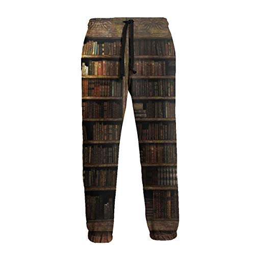 Unisex 3D Printed Sweatpants Old Wooden Bookshelf Funny Hip Hop Casual Pants Sports Trousers with Drawstring for Jogging White ()