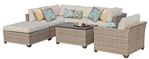 TK Classics MONTEREY-07d 7 Piece Monterey-07D Outdoor Wicker Patio Furniture Set, Beige - Luxury Patio Furniture Color : Beige Designed to create luxurious outdoor living environment - patio-furniture, patio, conversation-sets - 41EGg0lvtlL -
