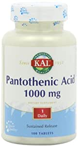 Pan Acid (Pantothenic Acid) 1000mg Timed Release - 100 - Sustained Release Tablet by Kal
