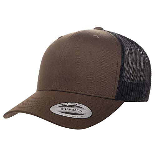 Running Partner Yupoong 6606 Curved Bill Trucker Mesh Snapback Hat with NoSweat Hat Liner (Coyote Brown/Black, 1)
