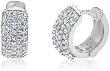 18K White / Gold Sterling Silver Cubic Zirconia Pave Huggie Hoop Earring
