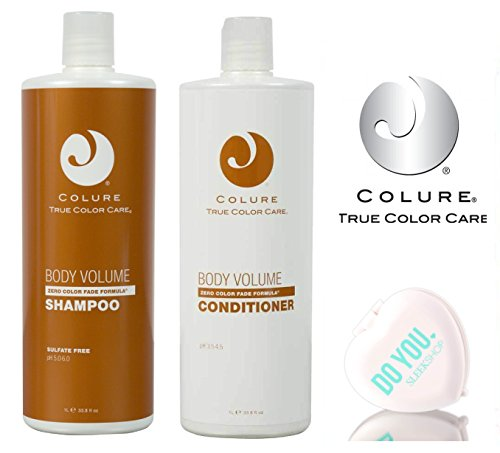 Colure True Color Care BODY VOLUME Shampoo & Conditioner DUO Set, zero color fade formula (with Sleek Compact Mirror) (33 oz / 1000ml Large Liter Duo Kit) ()
