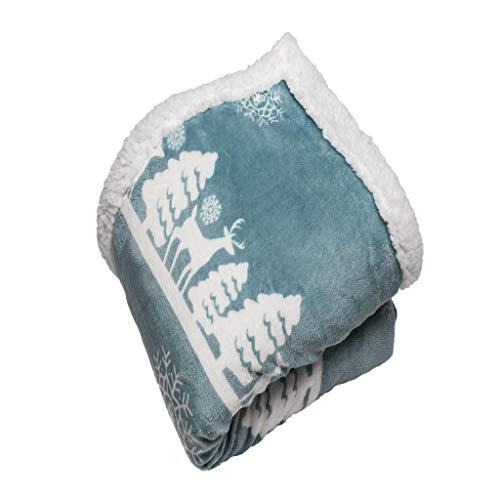 Vera Neumann  Deerly Sherpa Throw Blanket, 50 x 60, Teal Blu