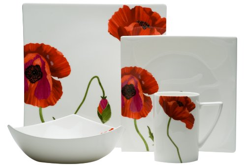Red Vanilla Summer Sun Bone China 4-Piece Dinning Set (Floral Bone Dish)