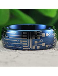 Blue Tungsten Band with Domed Edge Circuit Board Pattern Ring
